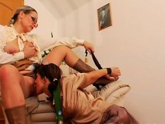 Mature playgirl gets gagged and dominated by young floozy