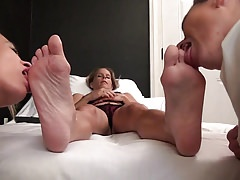 nurse licking feet and pussy