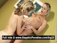 Superb blonde lesbians fingering and licking pussy and having lesbian love