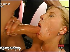 Melanie and her girlfriend clean each other's jizzed faces