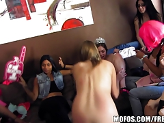 Bachelorette party full of babes share a few dicks
